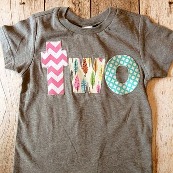 Feather woods girls birthday shirt tribal teepee birds arrow camp pink  aqua blue teal cream Lowercase two on a triblend grey tshirt outfit