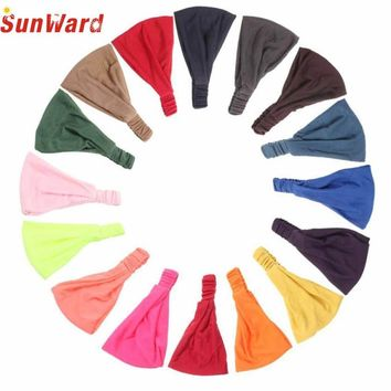 Wonderful Fashion Woman Hair Accessory Elasticity Wide Ribbon Headband Hair Band Bandanas June12Jan 20