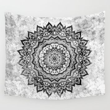 BLACK JEWEL MANDALA Wall Tapestry by Nika