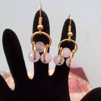Birthstone- Tourmaline- October- Handmade Gold Plated Dangle Earrings