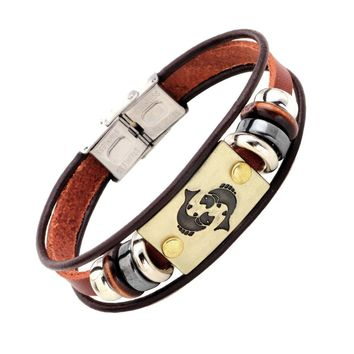 Pisces Zodiac Sign Bracelet With Stainless Steel Clasp Leather Bracelet