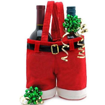 1 Pcs Merry Christmas Gift Treat Candy Wine Bottle Bag Santa Claus