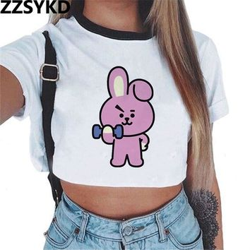 ZZSYKD 2018 Bts Kpop Sweatshirt Women Bt21 Print White Clothes Short Sleeve Crop Top Hoodie Got7 Bts Love Yourself