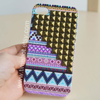 Aztec Tribal Brass Pyramid Studded iphone 4 case,iphone 4s ,iphone hard case