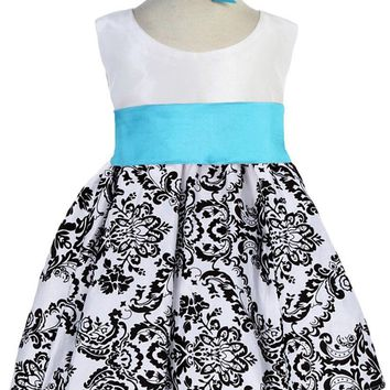 White Taffeta & Black Velvet Girls Dress w. Aqua Sash 3m-24m