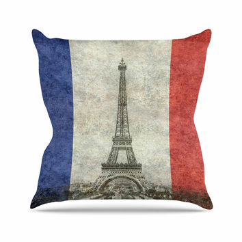 "Bruce Stanfield "" Vintage Paris"" Mixed Media Travel Outdoor Throw Pillow"