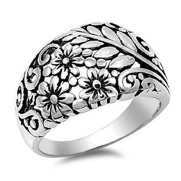 925 Sterling Silver Flowers & Leaves Ring 13MM