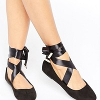 RAID Tie Up Black Ballet Flats at asos.com