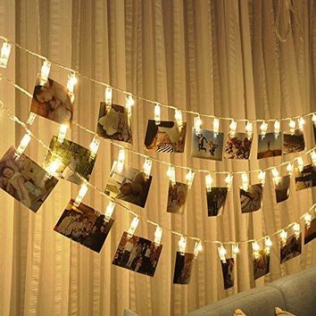 Photo clips string lights Battery Powered, 20 LED 10ft Warm white Lights for Bedroon Wedding Party Christmas Propose Indoor Home Decor Lights for Hanging Photos, Cards, Memos and Artwork