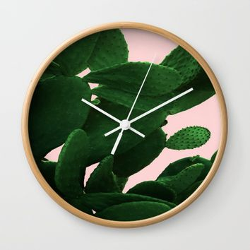 Cactus On Pink Wall Clock by ARTbyJWP