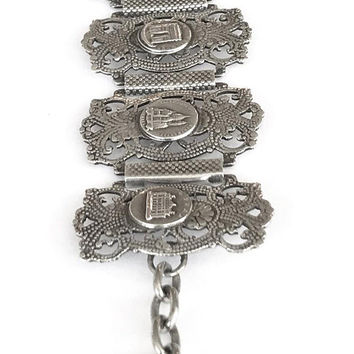 Vintage French Souvenir Bracelet Paris Landmarks 8 Panel Link Bracelet Silver Plate Eiffel Tower Hanging Charm Notre Dame Paris Collectible