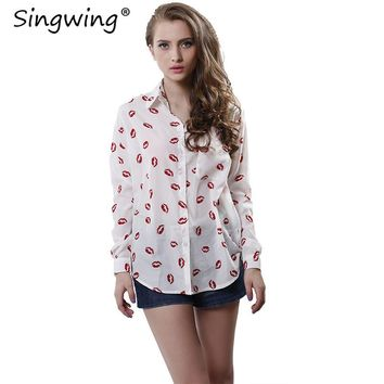 Singwing Women Kisses Red Lip Clothing Shirts Kiss Red Lip Printed Blouses Women's Tops Long Sleeve Shirt with Pockets Top