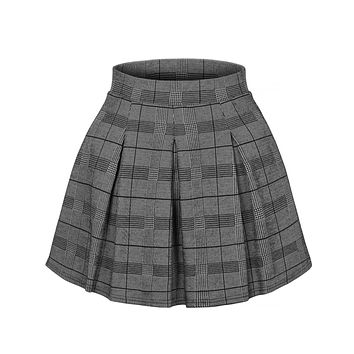LE3NO Womens Tartan Chequered Pleated Elastic Waist Plaid Mini Skater Skirt