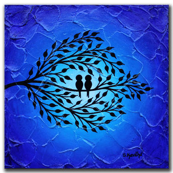 Love birds art, Original Artwork Birds on tree art Blue wall art Night sky painting Silhouette art Abstract blue canvas art Love birds decor