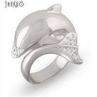JanKuo Jewelry Cute Dolphin Fashion Ring with Cubic Zirconia in Gift Box (6)