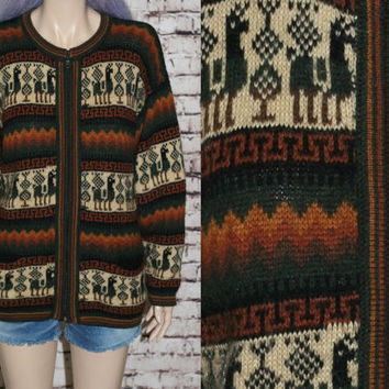 90s Alpaca Sweater Knit Zip Up Cardigan Southwest Ethnic Boyfriend Earthy boho festival hipster grunge oversize mens 80s jumper s m l