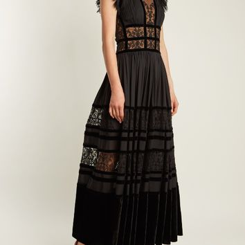 Lace-insert pleated-georgette gown | Elie Saab | MATCHESFASHION.COM US