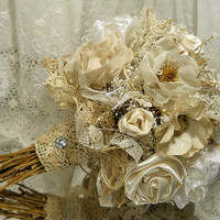 Vintage Inspired Bridal Bouquet, handmade flowers, vintage crochet and tatting, babys breath, twine, dried flowers and twigs.