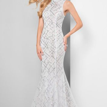Terani Couture - Beautiful Beaded Pattern Mock Neck Mermaid Gown 1712P2494
