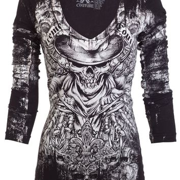 Licensed Official Xtreme Couture AFFLICTION Womens LS T-Shirt OFFERING Biker UFC Sinful $58 a