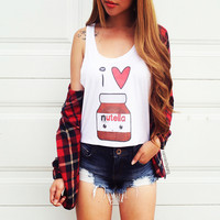 I Heart Nutella Crop Tank Top