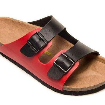 VON3TL 2018 Birkenstock Summer Fashion Couples Slippers Woman Men Fashion Buckle Slipper Red-Black Sandals