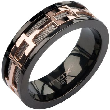 Inox 316L Steel IP Rose Gold and Black Cable Spinner Ring