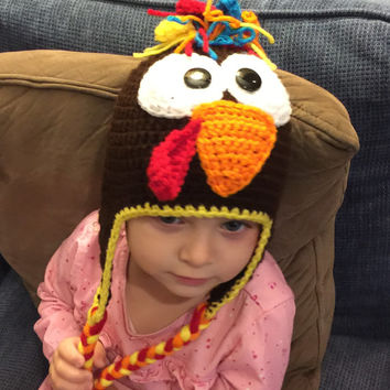 Turkey Hat/ Beanie w/ Ear Flaps - All Sizes Available