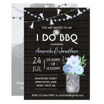 I DO BBQ outdoor backyard rustic mason jar photo Card