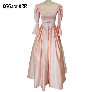 Long Sleeves Light Pink Satin A-Line Prom Dresses 2017 Scoop Appliques Zipper Back Floor Length Prom Gowns For Formal Party