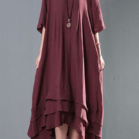 Burgundy Half Sleeve Layered High-Low Maxi Dress