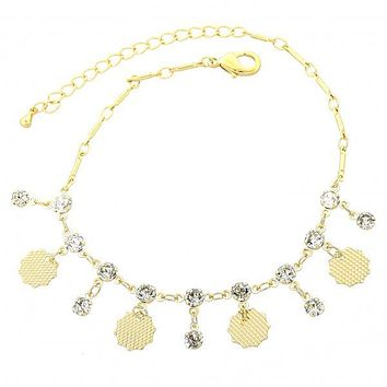 Gold Layered 03.63.1282.08 Charm Bracelet, Leaf Design, with White Cubic Zirconia, Polished Finish, Gold Tone