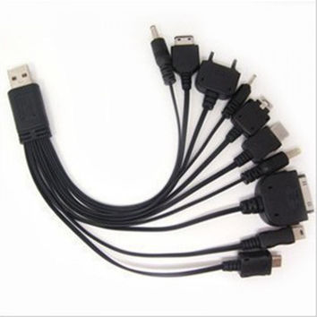 Portable USB 10 in 1 Charge Cable Multi Charger Cable compatible for smart phone digital camera PDA Cell phone MP3 PSP