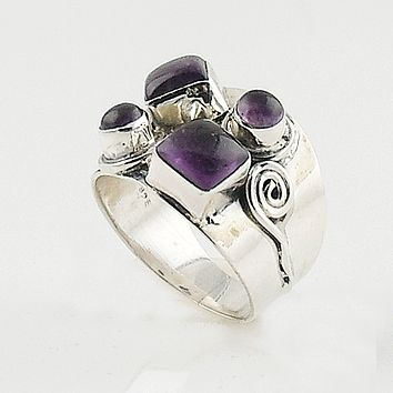 Amethyst Shapes Sterling Silver Ring
