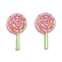 Set 2pcs. Sweet Pink Candy New Iron On Patch Embroidered Applique Size 2.3cm.x4.2cm.