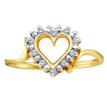 1/4 Carat Diamond 14K Yellow Gold Heart Right Hand Ring: Size: 5