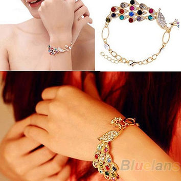 1pc Vintage Colorful Rhinestone Crystal Peacock Bird Chain Bangle Bracelet Gift = 1946819844