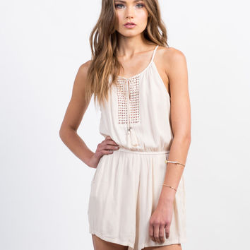 Pom Embroidered Gauze Romper - Small