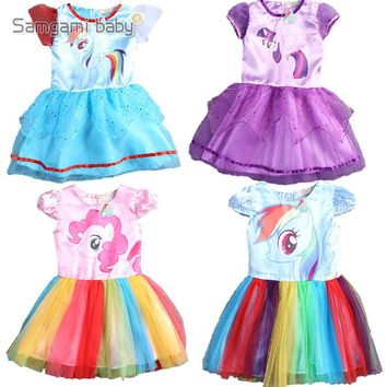 2016 New summer dress little Girls Dress my Pony Spring Girl Short sleeve Dresses My girls princess For Little Pony Costume
