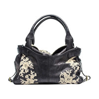 Valentino Black Leather & Lace Hobo