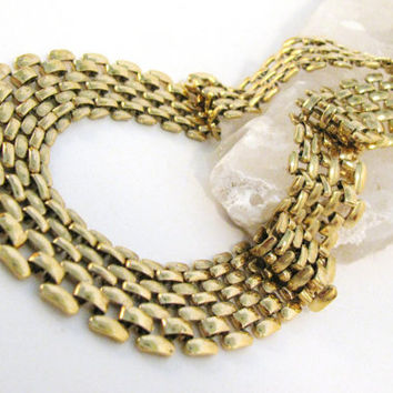 Vintage Flat Weave Necklace Gold Tone by colorsoulartistry on Etsy