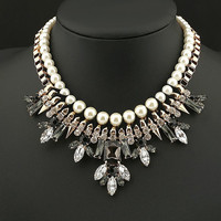 Pearl Statement Necklace Crystal Necklace Bib Statement Necklace