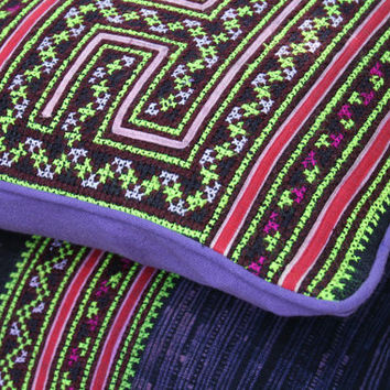 "Hmong Pillow Ethnic Embroidery And Batik 16 ""  Purple Boho Pillow Cushion, ** Free Worldwide Shipping **"