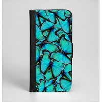 The Turquoise Butterfly Bundle Ink-Fuzed Leather Folding Wallet Case for the iPhone 6/6s, 6/6s Plus, 5/5s and 5c