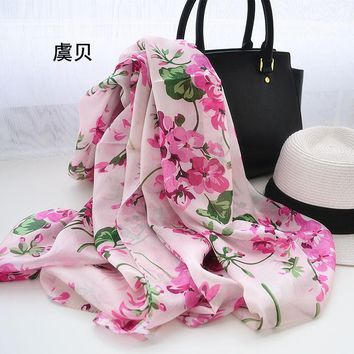 Women 100% natural silk scarf big size long shawl wrap female print hijab soft foulard bandana beach sunscreen cape 110x176cm