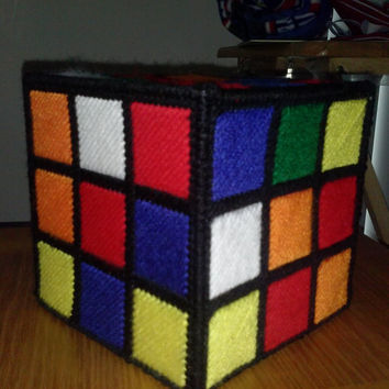 Rubik's Cube Rubik Plastic Canvas Boutique Style Tissue Box Cover