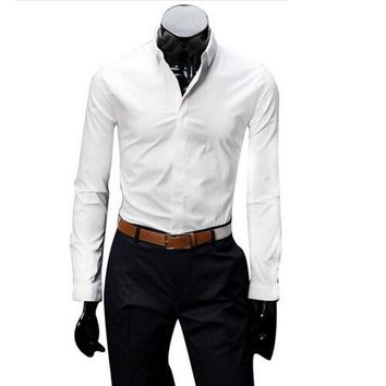 Solid Color Classic Men Shirts Elegant Small Square Collar Covered button Shirt Long sleeve 8 Colors Size M-2XL