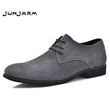 JUNJARM 2017 Men Formal Shoes British Style Soft Men Dress Shoes Black Men Business Shoes Cow Suede Lace Up Men Office Shoes