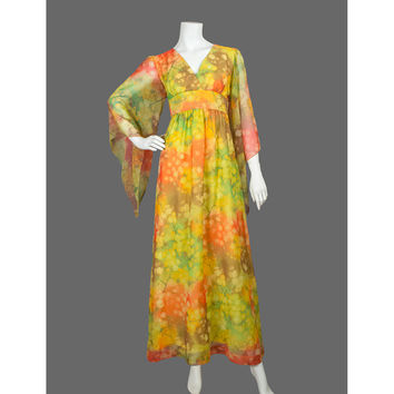 Vintage Hawaiian 60s Maxi Dress - Boho Bohemian Hippie Festival 1960s Maxi Dress - Floral Chiffon Empire Waist Bell Sleeve Dress - ON SALE
