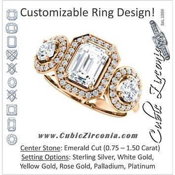 Cubic Zirconia Engagement Ring- The Justine (Customizable Emerald Cut Center 3-Stone Halo-Style)